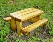 Miniature Garden Picnic table, Goes With A Fairy Door, Gnome Door, Hobbit Door, Elf Door, Troll Door.