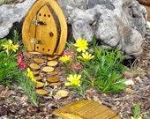 """Miniature Garden, Fairy Door, Gnome Door, Hobbit Door, Elf Door, Troll Door. 7"""" tall open Pine door garden kit."""