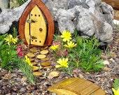 """Miniature Garden, Fairy Door, Gnome Door, Hobbit Door, Elf Door, Troll Door. 7"""" tall open forest door garden kit."""
