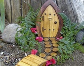 """Miniature Garden, Fairy Door, Gnome Door, Hobbit Door, Elf Door, Troll Door. 7"""" tall Forest door garden kit."""
