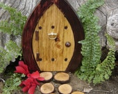 "Fairy Door, Gnome Door, Hobbit Door, Elf Door, Troll Door, Miniature Garden Fae Door, 7"" tall Forest style."