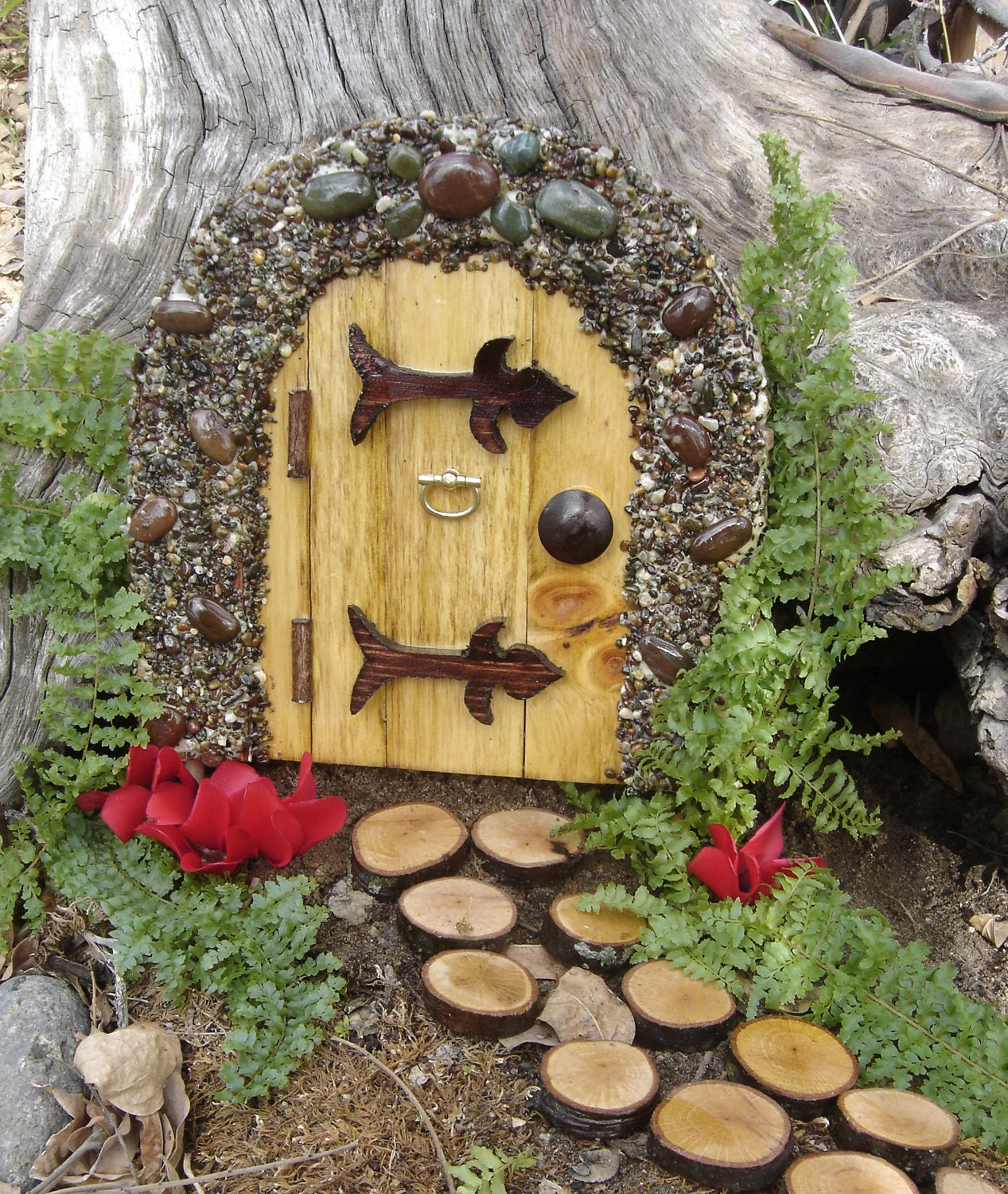 Items similar to handmade fairy door gnome door hobbit for Fairy house doors