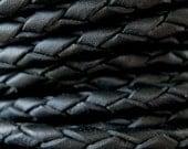 Braided Black Leather Bolo Cord  3mm Round 1 Yard