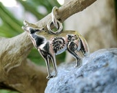 Sterling Silver Wolf Charm Pendant Animal Totem