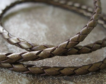 Bronze Bolo Leather Cord 3MM Metallic Braided Round 1 Yd Sale