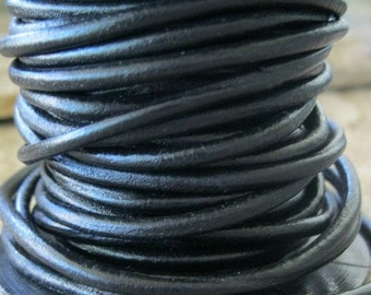 5 Yards Black Leather Cord 3MM Round Craft Jewelry Lace Flexible Strong