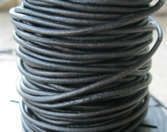 2 MM Leather Cord Naturally Dyed Rich Dark Brown Black Round Lace Five Yds