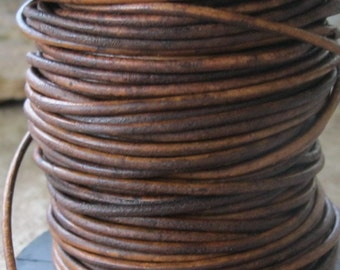 6 Yards 2MM Leather Cord Natural Western Brown Fine Round lace