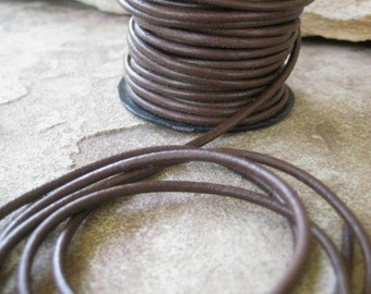 5 Yds 2MM Cocoa Brown Round Leather Cord Jewelry Lace