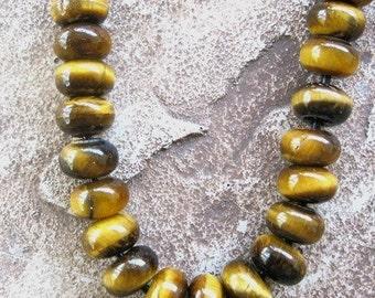 10 Large Hole Bead Tigereye Rondelle 12mm Gemstone beads