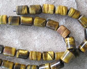 Barrel Big Hole Bead Large Tiger Eye Golden 9 Pieces 10x14