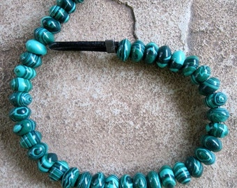 "Malachite 8mm Rondelle Big Hole Bead Black and Green Tribal 8"" Synthetic Beads"