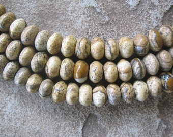 "Gemstone Large Hole Bead 8mm  Picture Jasper Rondelle 8"" Beads Fits Leather"