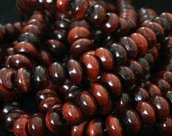 Red Tigereye Bead Big Hole 12MM Rondelle 12 Genuine Beads