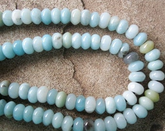 Amazonite Large Hole Bead 8MM Rondelle approx 34- 36 Big Hole Beads Fit Leather Blue