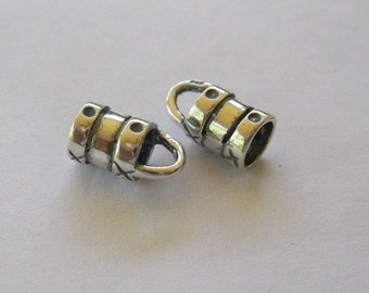 2MM Sterling Silver Crimp Cord Ends Three Pairs End Caps