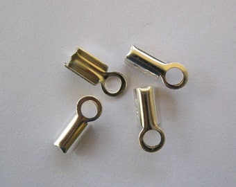Fold Over Cord End Sterling Silver End Caps Small 4 Pieces