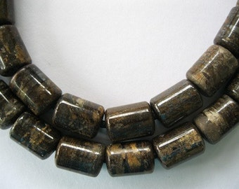 Bronzite large Hole Bead 10x14MM  Barrel 10 Beads Fits Leather