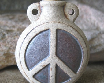 Peace Sign Pendant Ceramic Bottle Prayer Box Vessel