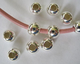 6MM Sterling Silver Bead Round Seamless Big Hole 10 Beads Sale