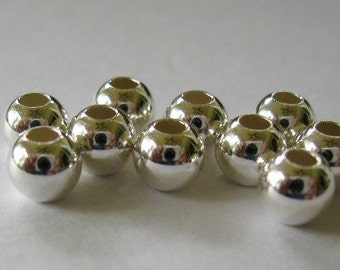 6MM Sterling Silver Bead Round Seamless 2.5 mm Large Hole 50 Beads Sale