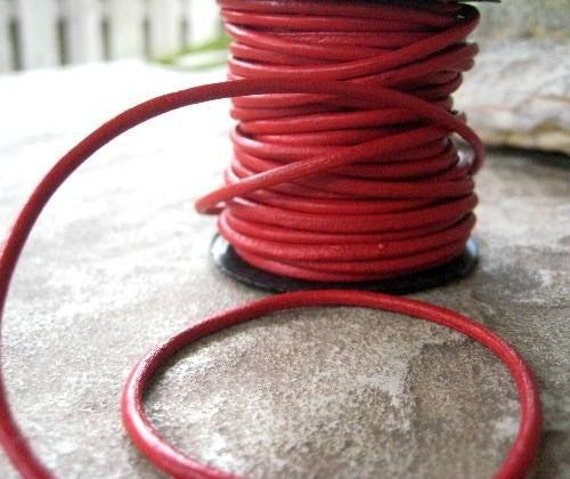 Soft 2MM Leather Cord Western Red  High Quality  5 yards Real Red