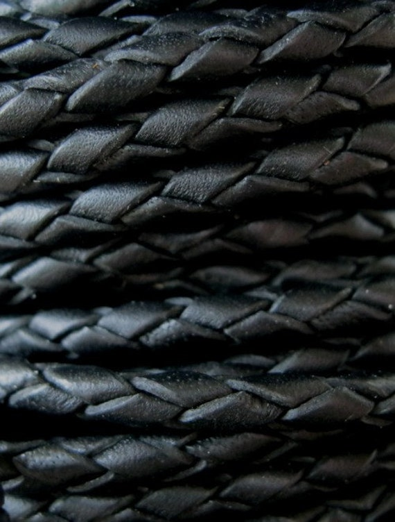 Braided Black Leather Bolo Cord  3mm Round 1 Yard SALE