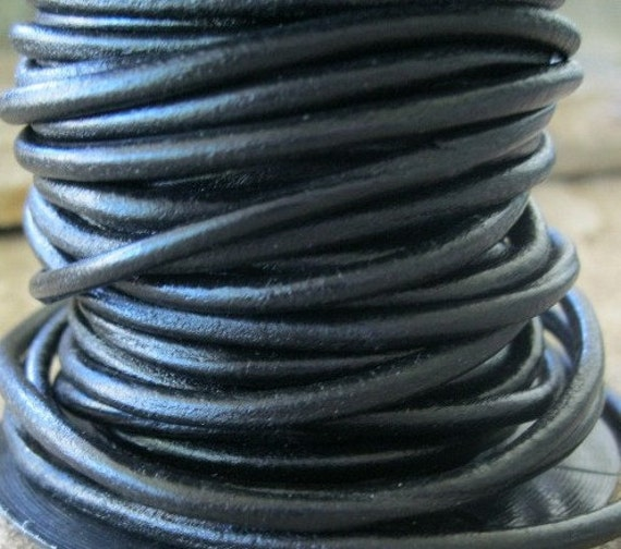 Robust  Leather Cord 3MM  Black Jewelry Lace Strong Soft 3 Yds