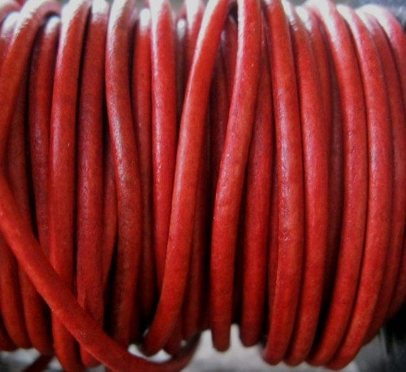 Natural Red  2mm Leather Cord Round Craft Jewelry Lace 9 FT Sale