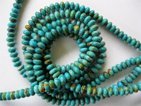 Genuine Turquoise Bead Rondelle Natural  Blue Green 15 Beads
