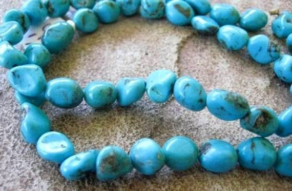 "Small Nugget Turquoise Bead Genuine Blue 8"" Strand Natural"