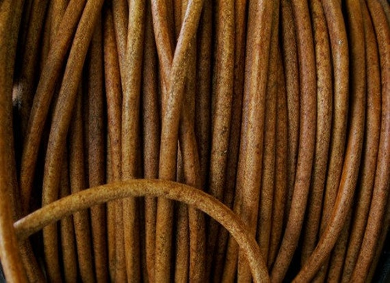 3mm Strong Leather Cord  Natural Light Brown Round Lace 3 Yards Western Brown