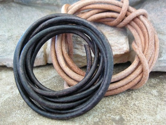3MM Leather Cord Natural Light Dark Chocolate Mix Round Lace 3 Yd