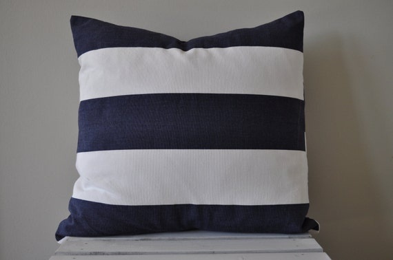 Navy and white striped pillow cover