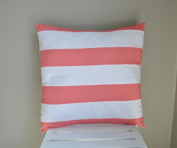 Coral and white striped pillow cover