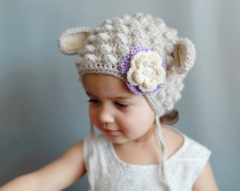 Lamb Hat - Baby Lamb hat, Toddler girl hat, Toddler Halloween costume, Toddler girl Halloween costume, Baby Halloween costume, Baby Lamb