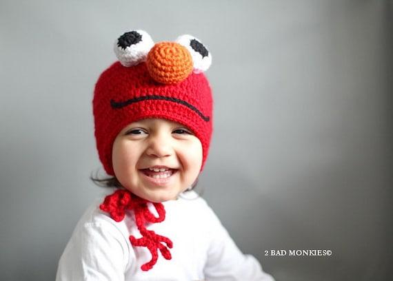 Elmo Hat, Toddler hat, Baby Hat, Winter hat, Toddler costume, Toddler Halloween Costume