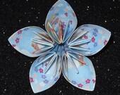 sky blue floral origami paper flower