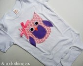 Children's Custom Clothing, Boutique Clothing for Kids, Made to Order, Appliqued Girly Owl Onesie