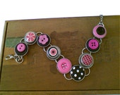 Pink and Black Button Bracelet
