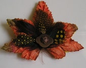 SALE Copper Velvet Leaf Clip with Feathers
