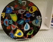 Whimsy Birds Fused Glass Bowl