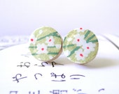 Lime Stud Earrings Spring, Green Stud Earrings, Japanese Chiyogami Paper, tiny flowers , Mother's day , wooden studs