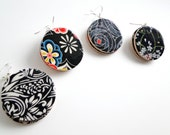Black and White Earrings, Japanese Paper, Wood, large Dangles, MADE TO ORDER, gift under 20