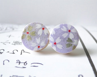 Violet Ear Studs in Japanese Chiyogami with cherry blossoms