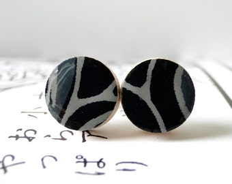 Black Ear Studs Japanese Paper, Halloween earrings, Black Earrings, Chiyogami earrings, gift under 10