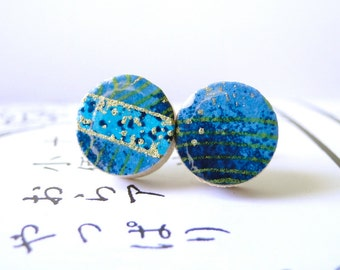 Blue Stud Earrings, Japanese Chiyogami Paper, Origami Paper, gift under 10