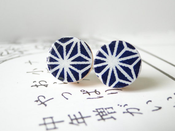 Stars Night Ear Studs Japanese Chiyogami Paper