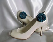 Handmade rose shoe clips in teal blue