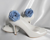 Handmade rose shoe clips in smoke blue